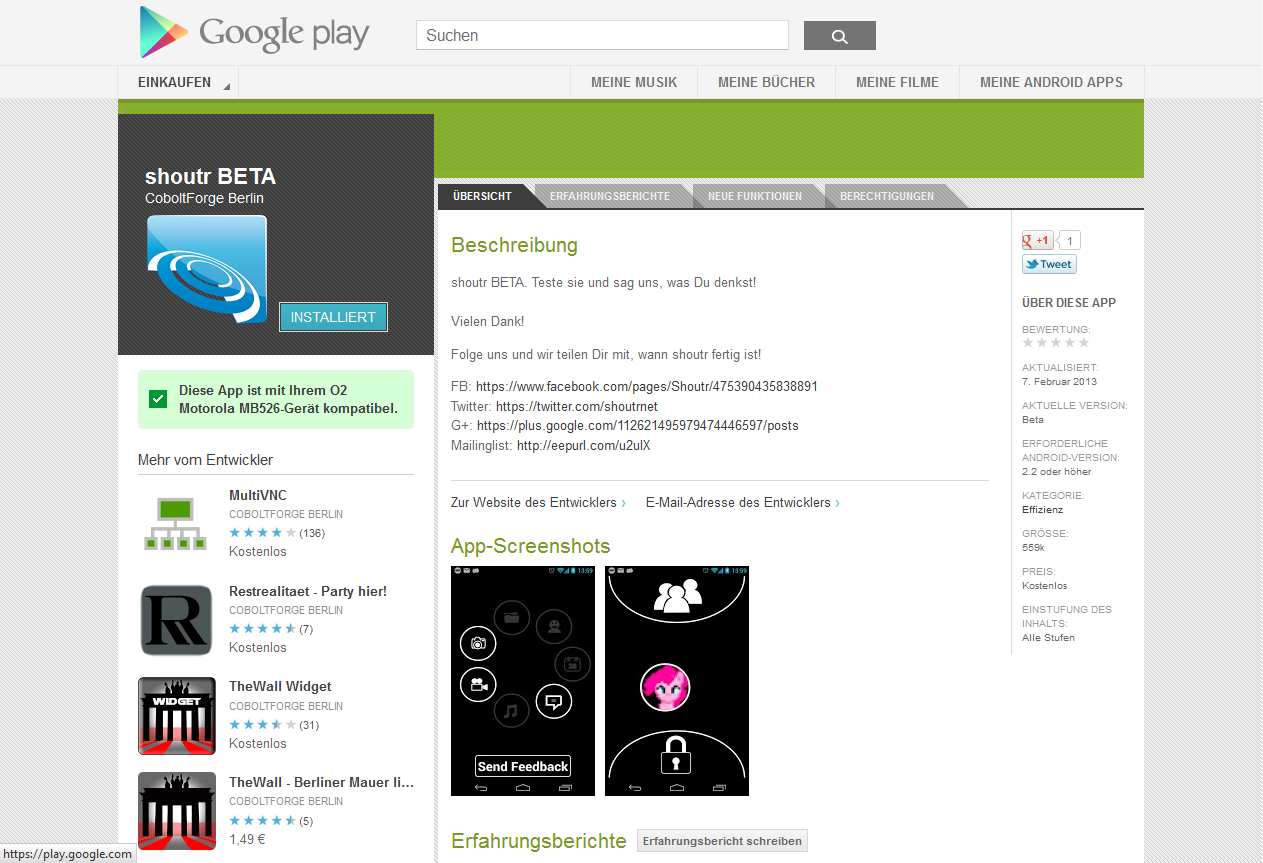 Screenshot Google Play